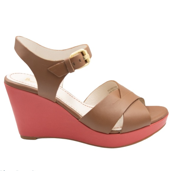 Boden Coral & Brown Leather Strap Wedge Sandals